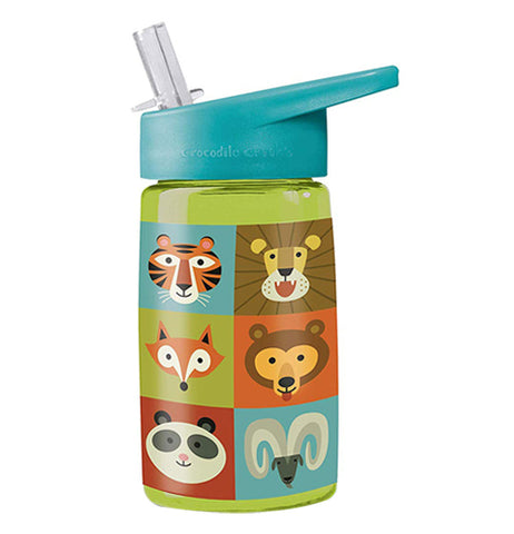 """Jungle Jamboree"" lime green drinking bottle with tiger, lion, fox, bear, panda, and ram design with turquoise flip straw lid on."