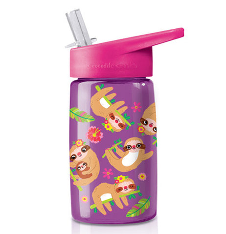 "The Tritan ""Sloth"" Drinking Bottle features a purple background with a design of sloths, palm leaves, and pink and yellow flowers, and a dark pink spill-resistant sipper on top."