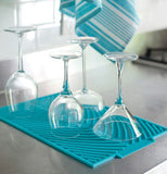 Aqua Blue Drying Mat with A display of Wine Glasses
