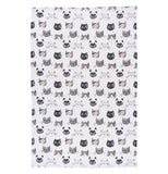 Cute kitty towel with a white background and black, white and grey cat faces.
