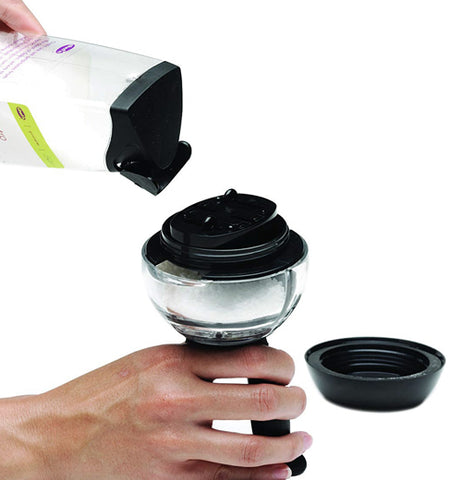 This duel pepper and salt shaker has an easy to open spout with a close able spout up top.