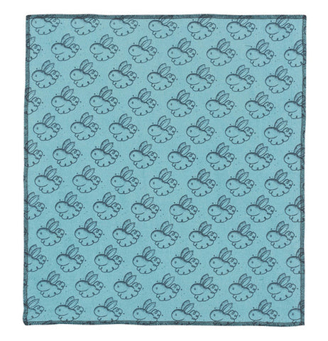Rabbit print dusting cloth in blue