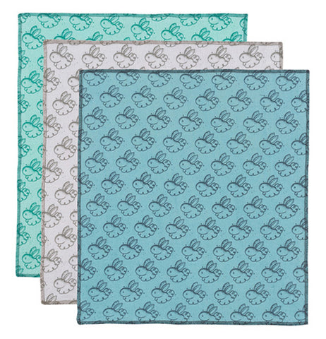 A set of three dusting cloths with a rabbit print pattern in, blue, teal, and gray.
