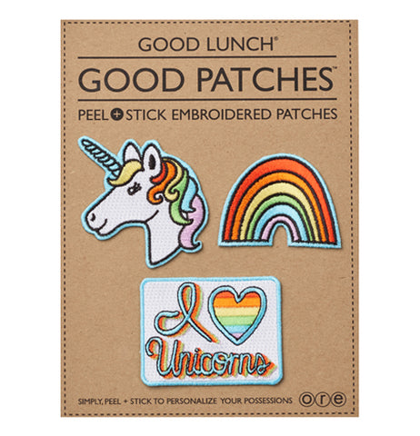 A Unicorn, Rainbow, and I Love Unicorns Patch on a brown cardboard package.