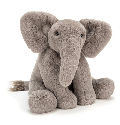 "The Little ""Emile Elephant"" is a soft, cuddly, and  gray-colored animal that is perfect for squeezing."