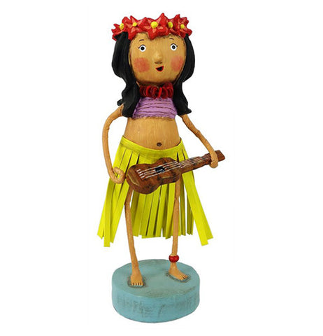 The hula girl has a flower wreath on her head a pink top on and a yellow skirt. She is holding a ukulele.