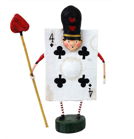 This whimsical four of clubs card figurine is ready for battle with a spear that has a head shaped like a heart. He has a black hat with two little red hearts on it.