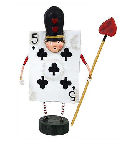 The Black Five of Clubs card figurine wears a black hat while holding a gold spear with a red heart on the end.
