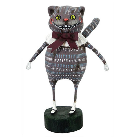 The Cheshire cat is black with blue and white marks on his body. He has white gloves, socks, and collar. He has a burgundy tie.