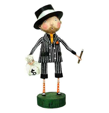 This small figurine is of a 1930s' style gangster with black and white pinstriped suit and a black hat with a white band holding a bag of money and a cigar.