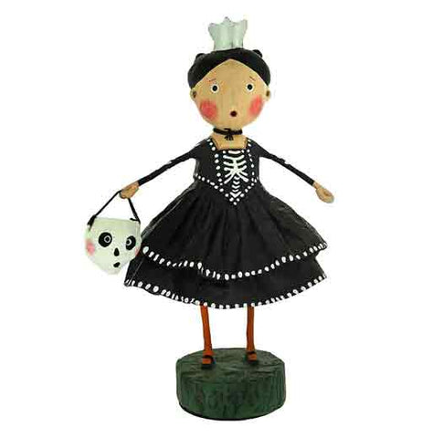 This figurine is of a girl dressed in a black dress with some bones drawn on it to make it look like a skeleton topped with a crown. Her trick or treating bag is shaped like a human skull.
