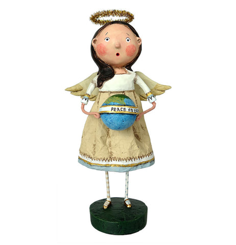 "This figurine is of an angel dressed in a white robe with a golden halo on her head. In her hands is an earth globe with a white banner wrapped around it with the words, ""Peace on Earth"" in black lettering."