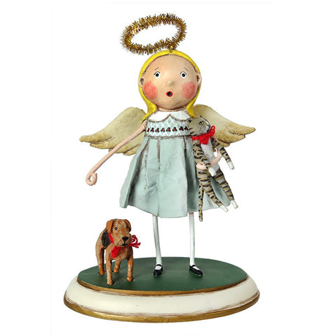 This figurine is of an angel dressed in a turquoise robe with a golden halo on her head. A small brown and black dog stands next to her and she carries a striped tabby cat in one of her hands.