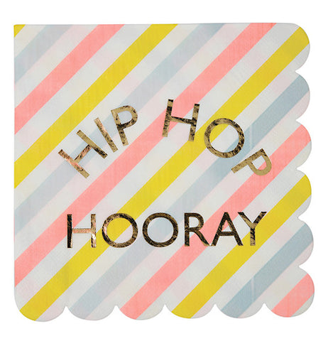 "Easter napkins that are muti-color that says ""Hip HOP Hooray."""