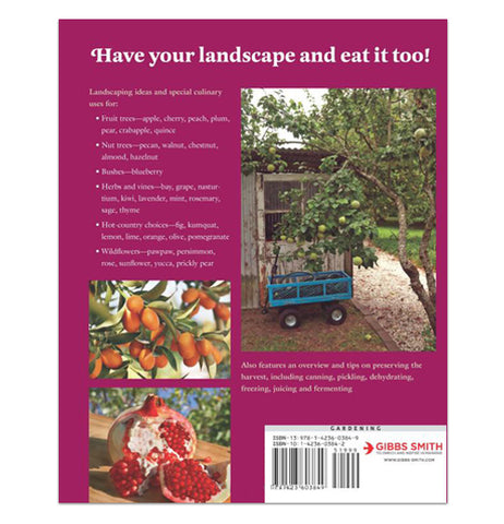 "Reverse side of a garden book titled ""Eat your yard"", showing a picture of a wagon next to a tree in a garden. Another photograph has some small tomatoes and another has a picture of crabapples."