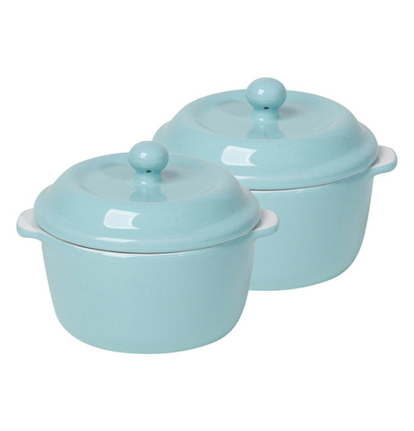 A set of cocotte stoneware in robin egg blue