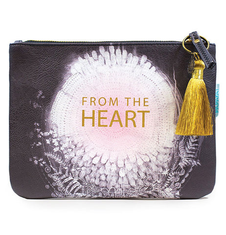 "Black pocket clutch with a mandala in the middle and the saying ""From the heart."""