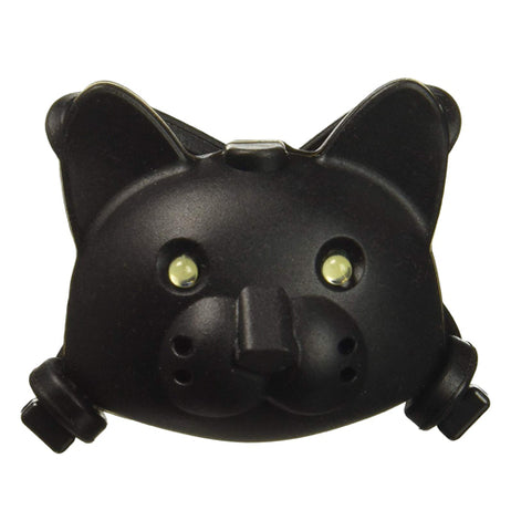 This black bicycle light is shaped like a cat's head, complete with ears, nose, eyes and mouth.