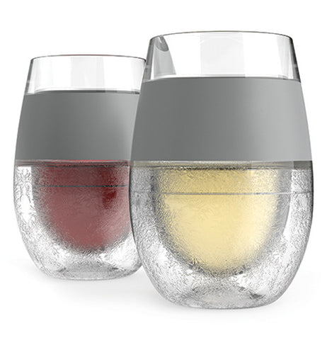 Freeze cooling wine glass clear with a grey piece to grip the glass.