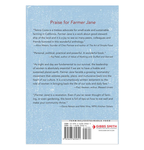 "The backside of the Farmer Jane garden book is shown. Its summary is shown in black lettering while the words, ""Praise for Farmer Jane"" at the top are in red lettering."
