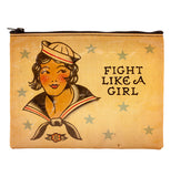 "Vintage looking tan zipper pouch with the words ""Fight like a girl"" printed in black on the right and the bust of a sailor girl on the left with silver stars all around."