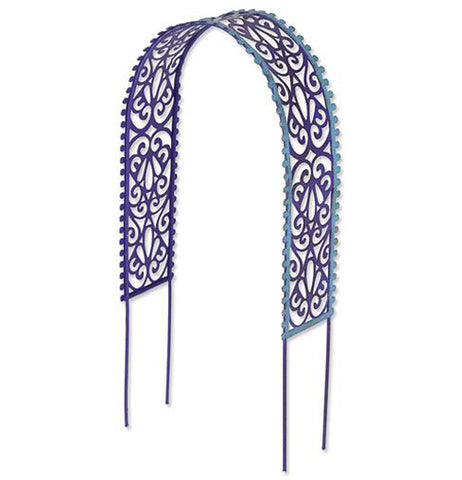 Gypsy garden filigree arbor is purple and blue with swirl designs in it.