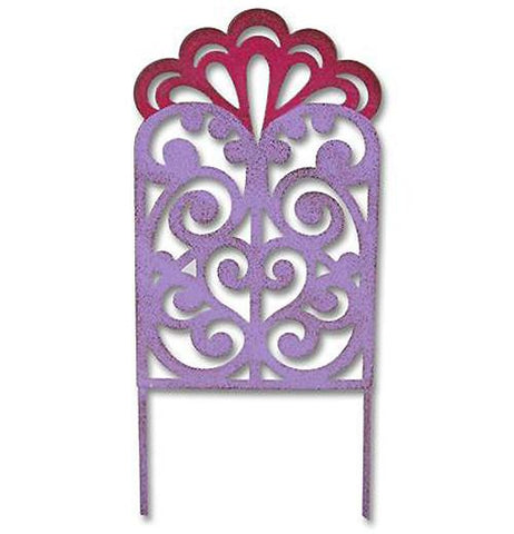 Mini gypsy garden filigree gate is purple and red with swirl designs.
