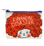 "This white zip-up bag with a blue zipper features a girl with a large plume of red hair. The words, ""Financial Disaster"" are shown in white lettering against the girl's hair."