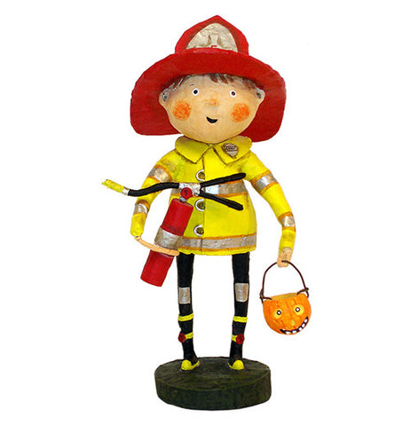 This figurine is of a firefighter wearing the red Hat, dressed in a firefighter's yellow jacket, holding a fire extinguisher in one hand, and a pumpkin-shaped Trick Or Treat candy container.