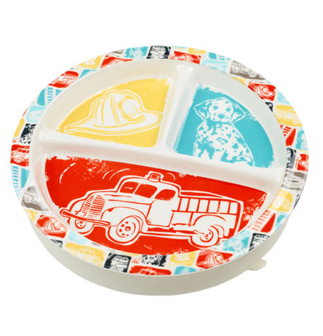 Baby plate with firetruck theme on it.