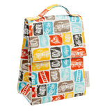 Lunch tote with pictures of fire trucks, hoses and ladders.
