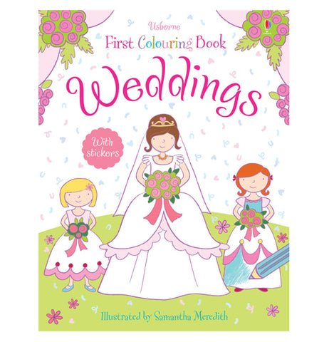 A white book featuring a woman in a bridal gown with two flower girls all three of them holding bouquets