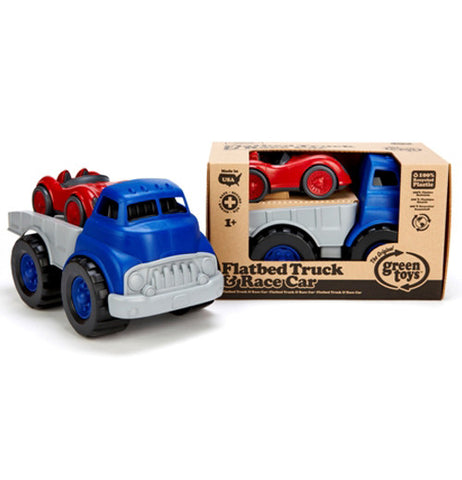 Blue and gray with red race car made from recycled materials