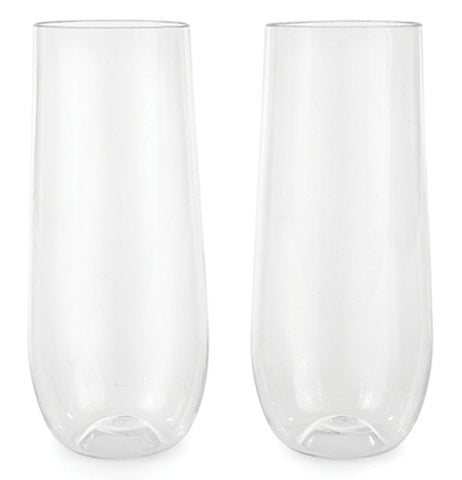 Two stemless champagne flute glasses.