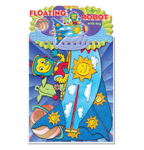 The Floating Robot with Dog is being packaged in blue background.