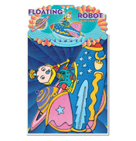 The Floating Robot with Star is being packaged with blue background.
