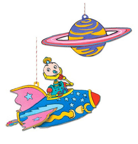 The Floating Robot with Star, illustrated by Saxton Freymann, is accompanied by its very own planet with included for easy hanging.
