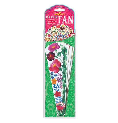 "The ""Flowers"" Papered Fan is double-sided with floral decorations, and is packaged."