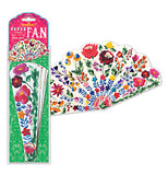 "The ""Flowers"" Fan is packaged with the other one already opened with its different colored flowers displayed."