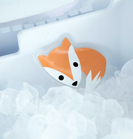 "The Hot/Cold ""Fox"" Pack goes in the ice box in the freezer."