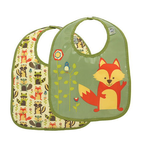 2 set baby bib forest animal. first one has skunks, raccoons and foxes in multi-color, the other one has a green back ground with a big fox and flowers and bird