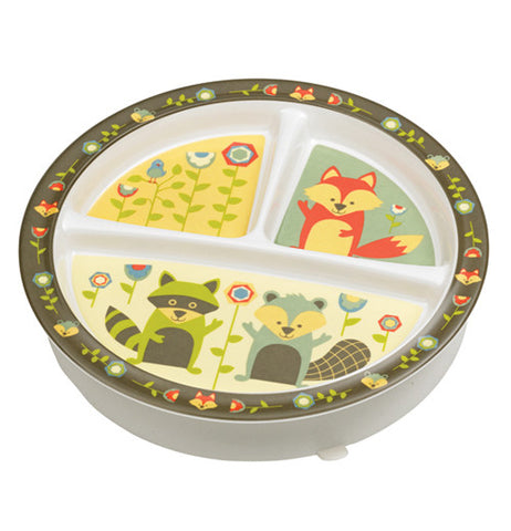 Baby plate with foxes on it.