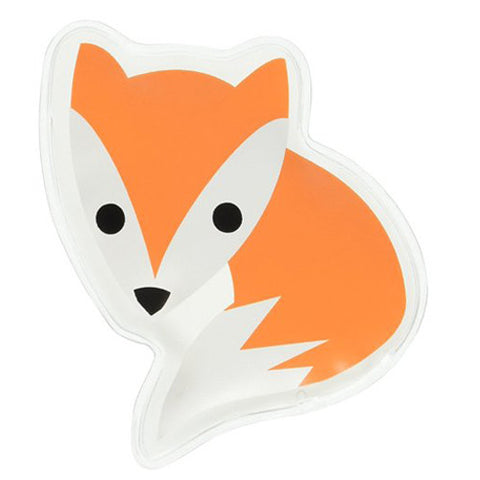 This fox shaped ice pack is orange and white.