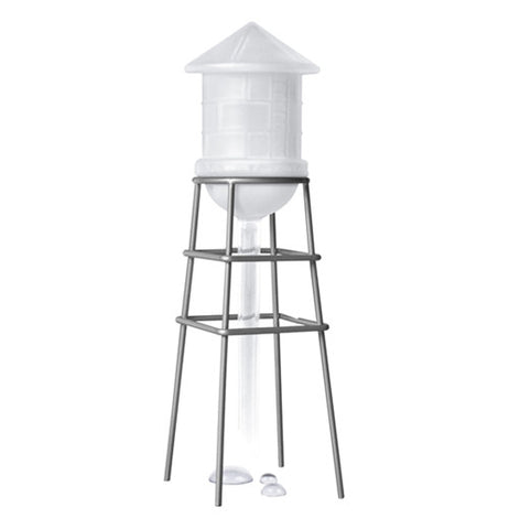 White water tower on in a metal holder.