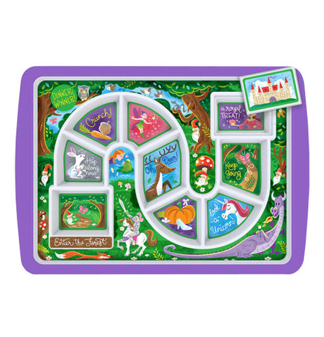Purple game board plate that has a magical forest theme to it.