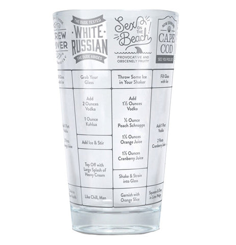 Cup with names of different vodka drinks on it.