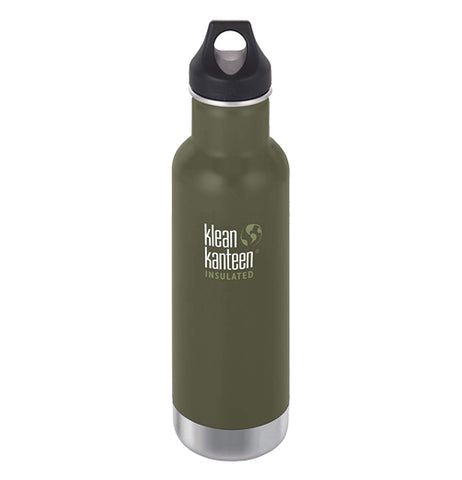 The dark olive green steel water bottle with a loop cap and the Klean Kanteen logo printed in the center is shown individually.