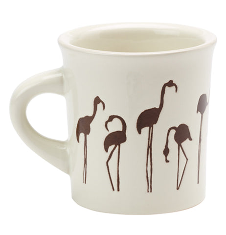 White cuppa this cuppa that mug with brown flamingo silhouette design on a white background.
