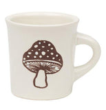 White diner style mug with a brown mushroom.