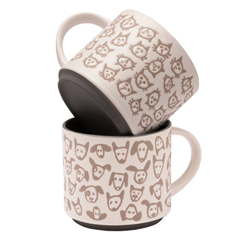 "This image shows the Pop of Color ""Scatter Cat"" mug on top of the ""Doodle Dog"" mug."